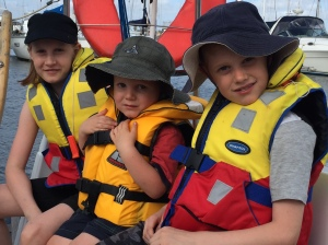 The kids enjoyed a trip on their Poppy's sail boat. The boat literally rocked Dami off to sleep!
